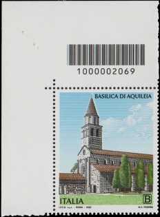 Basilica di Aquileia - coppia di francobolli con codice a barre n° 2069 in ALTO a sinistra