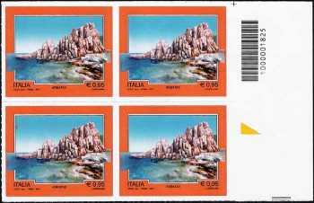 Turistica  44ª serie - Arbatax   (OG) - quartina con codice a barre n° 1825