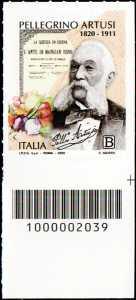 Pellegrino Artusi - Bicentenario della nascita - francobollo con codice a barre n° 2039 in BASSO a destra