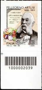 Pellegrino Artusi - Bicentenario della nascita - francobollo con codice a barre n° 2039 in BASSO a sinistra