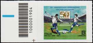 Associazione Italiana Calciatori - 50° Anniversario della fondazione - francobollo con codice a barre n° 1904 a SINISTRA in basso