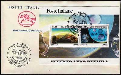 Italia 2000 - Avvento dell'anno duemila - Il Passato - Il Futuro - busta 1° giorno
