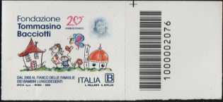 Fondazione Tommasino Bacciotti Onlus - 20° Anniversario della istituzione - francobollo con codice a barre n° 2076 a DESTRA in alto