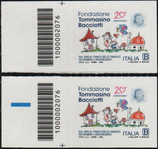 Fondazione Tommasino Bacciotti Onlus - 20° Anniversario della istituzione - coppia di francobolli con codice a barre n° 2076 a SINISTRA alto-basso