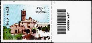 """"""" Il senso civico """" - Scuola di Barbiana - francobollo con codice a barre n° 1687"""