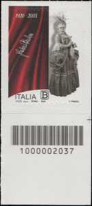 Fedora Barbieri - Centenario della nascita - francobollo con codice a barre n° 2037 in BASSO a destra