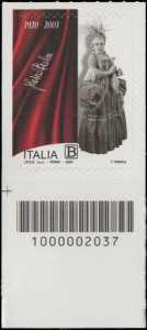 Fedora Barbieri - Centenario della nascita - francobollo con codice a barre n° 2037 in BASSO a sinistra