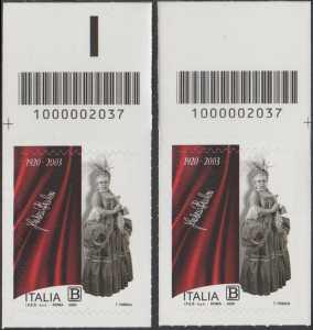 Fedora Barbieri - Centenario della nascita - coppia di francobolli con codice a barre n° 2037 in ALTO sinistra-destra