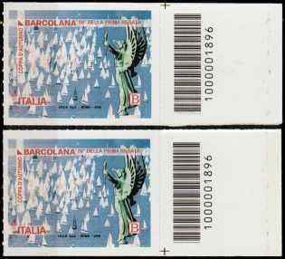Coppa d'autunno - Barcolana - 50° Anniversario della prima edizione - coppia di francobolli con codici a barre n° 1896 a Destra alto-basso