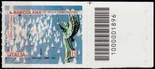 Coppa d'autunno - Barcolana - 50° Anniversario della prima edizione - francobollo con codici a barre n° 1896 a DESTRA in alto
