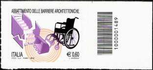 Italia 2012 - Abbattimento delle barriere architettoniche - codice a barre n° 1489