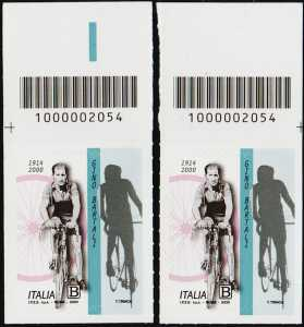 Gino Bartali - 20° Anniversario della scomparsa - coppia di francobolli con codice a barre n° 2054 in ALTO destra-sinistra