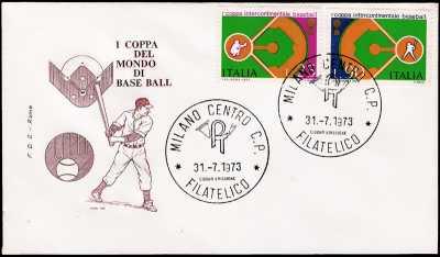 1973 - 1° coppa intercontinentale di baseball - busta 1° giorno FDC Roma