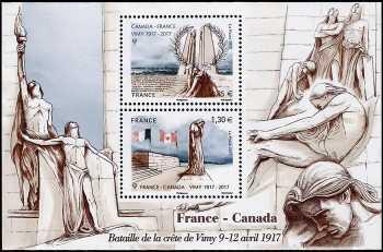 Francia 2017 - Battaglia di Vimy - Emissione congiunta con il Canada  - foglietto