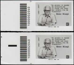 Enzo Biagi - Centenario della nascita - coppia di francobolli con codice a barre n° 2040 a SINISTRA alto-basso