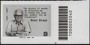 Enzo Biagi - Centenario della nascita - francobollo con codice a barre n° 2040 a DESTRA in basso