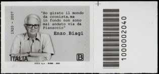 Enzo Biagi - Centenario della nascita - francobollo con codice a barre n° 2040 a DESTRA in alto