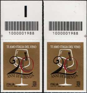Guida Bibenda - 20° Anniversario della fondazione - coppia di francobolli con codice a barre  n° 1988 in ALTO destra-sinistra