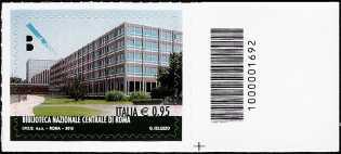Le eccellenze del  sapere  : Biblioteca Nazionale Centrale di Roma - francobollo con codice a barre n° 1692