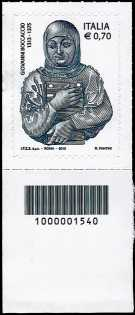 Italia 2013 - 7° Centenario della nascita di Giovanni Boccaccio - codice a barre n° 1540