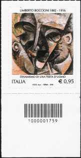 Centenario della morte di Umberto Boccioni - francobollo con codice a barre n° 1759