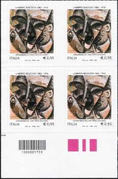 Centenario della morte di Umberto Boccioni - quartina con codice a barre n° 1759