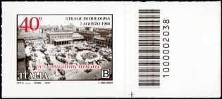 Il Senso Civico - 40° Anniversario della Strage di Bologna - francobollo con codice a barre n° 2038 a DESTRA in basso