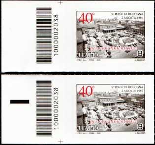 Il Senso Civico - 40° Anniversario della Strage di Bologna - coppia di francobolli con codice a barre n° 2038 a SINISTRA alto-basso