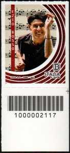 Ezio Bosso : 50° Anniversario della nascita - francobollo con codice a barre n° 2117 in BASSO a destra