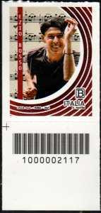 Ezio Bosso : 50° Anniversario della nascita - francobollo con codice a barre n° 2117 in BASSO a sinistra