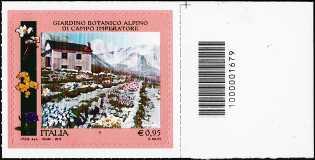 Parchi, Giardini e Orti Botanici d'Italia : Giardino botanico alpino di Campo Imperatore - francobollo con codice a barre n° 1679