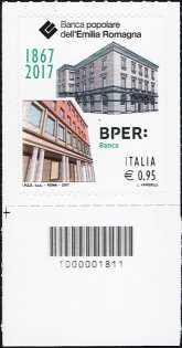 Banca Popolare dell'Emilia Romagna  ( BPER ) - 150° anniversario della fondazione - francobollo con codice a barre n° 1811