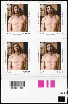 2014 - Patrimonio artistico e culturale italiano - 5° Centenario della morte del Bramante - quartina con codice a barre n° 1580
