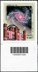 Italia 2012 - 250° Anniversario della fondazione dell'Osservatorio Astronomico di Brera in Milano - codice a barre n° 1484