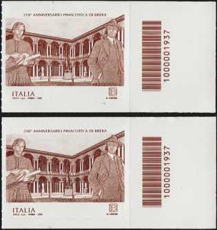 Pinacoteca di Brera - 210° Anniversario della fondazione - coppia francobolli con codice a barre n° 1937 a DESTRA alto-basso
