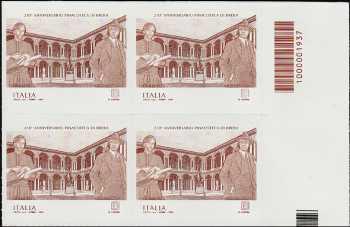 Pinacoteca di Brera - 210° Anniversario della fondazione - quartina con codice a barre n° 1937