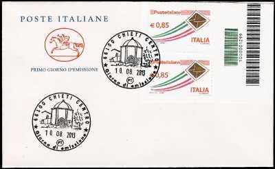 2013 - Busta 1° Giorno -  Posta ordinaria € 0,85 - Coppia di francobolli con codice a barre 1299