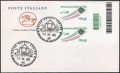 2013 - Busta 1° Giorno -  Posta ordinaria € 1,90 - Coppia di francobolli con codice a barre 1529