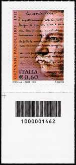 Italia 2012 - Giovanni Pascoli - codice a barre n° 1462