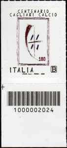 Cagliari Calcio S.p.A. - Centenario della fondazione - francobollo con codice a barre n° 2024 in BASSO a sinistra