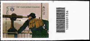 Italia 2013 - 150° Anniversario della fondazione del C.A.I.  - codice a barre n° 1536