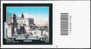 Turistica -  43ª serie emissione : - Camerino ( MC ) - francobollo con codice a barre n° 1756