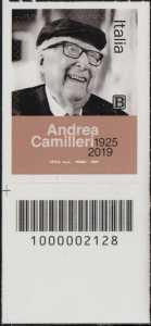 Le Eccellenze italiane dello spettacolo   :  Andrea Camilleri - francobollo con codice a barre n° 2128 in BASSO a sinistra
