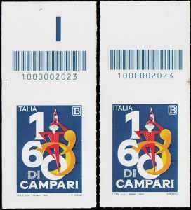 Le eccellenze del sistema produttivo ed economico - Davide Campari - Milano S.p.A. - 160° Anniversario della fondazione - coppia di francobolli con codice a barre n° 2023 in ALTO d