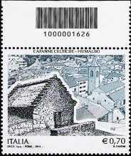 Patrimonio artistico e culturale  italiano : Capanne celtiche di Fiumalbo  - francobollo con codice a barre n° 1626