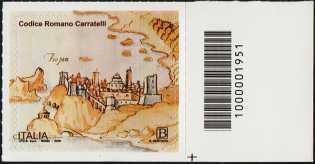 Codice Romano Carratelli - francobollo con codice a barre n° 1951 a DESTRA in basso