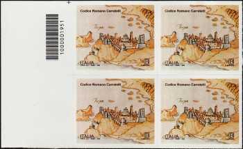 Patrimonio artistico e culturale  italiano : Codice Romano Carratelli - quartina con codice a barre n° 1951