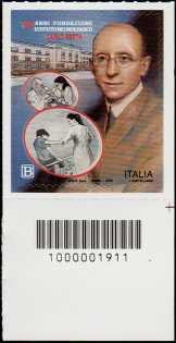 Istituto neurologico Carlo Besta - Centenario della fondazione - francobollo con codice a barre n° 1911 in BASSO a destra
