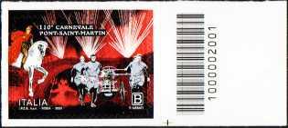 110° Anniversario del carnevale di Pont-Saint-Martin - francobollo con codice a barre n° 2001 a DESTRA in basso