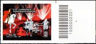 10° Anniversario del carnevale di Pont-Saint-Martin - francobollo con codice a barre n° 2001 a DESTRA in alto